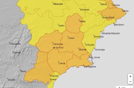 La AEMET activa la alerta naranja por lluvia y tormentas en toda la Región de Murcia